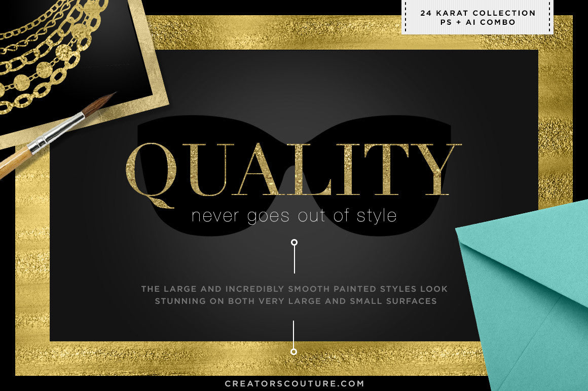 24K Gold Smooth Foil & Liquid Gold Textures photoshop illustrator combo quality demo