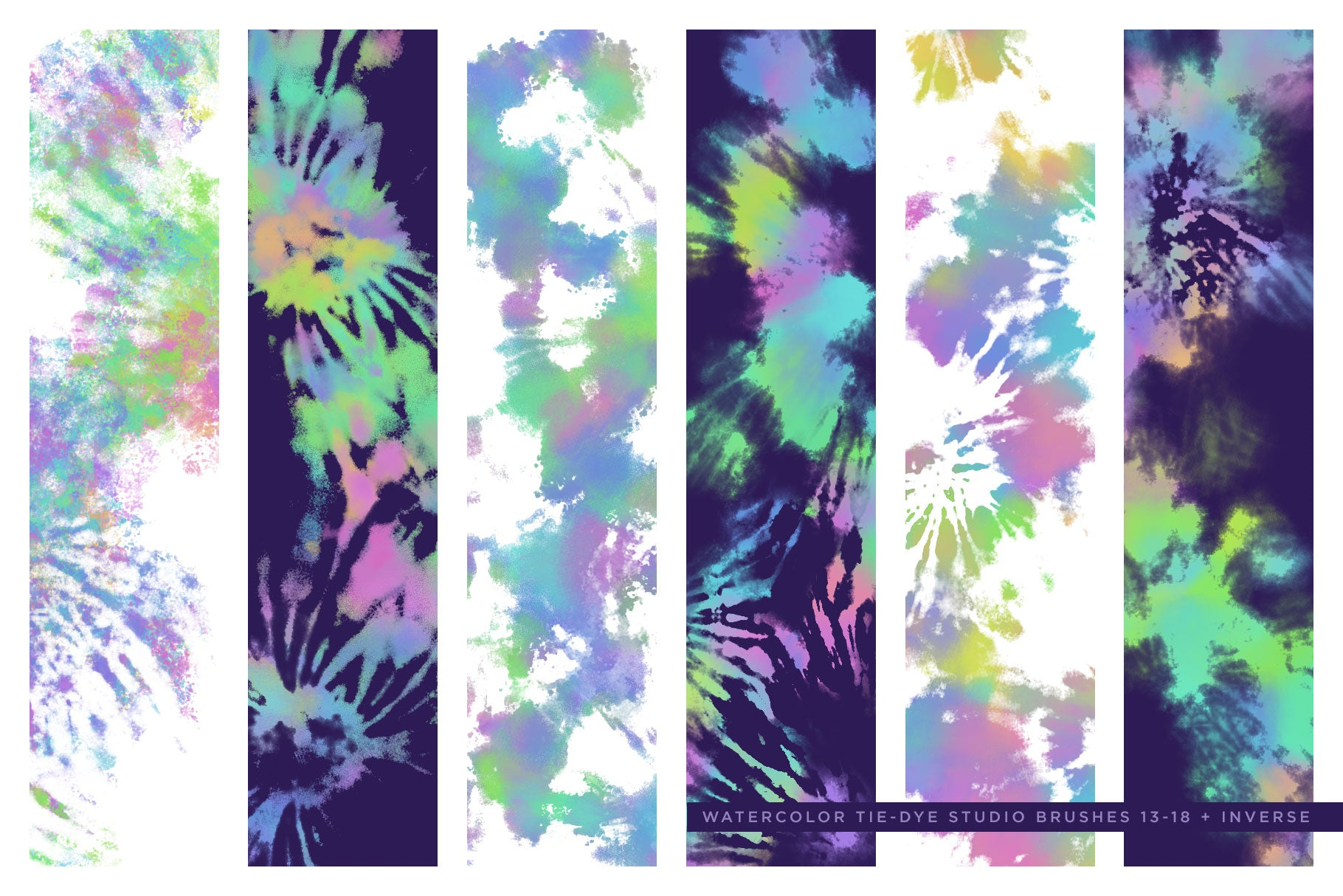 tie-dye multi-color photoshop brush preview 4