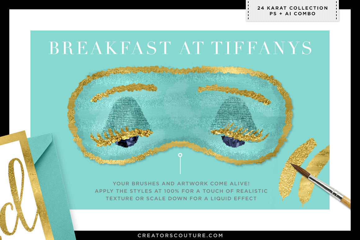 24K Gold Smooth Foil & Liquid Gold Textures photoshop illustrator combo breakfast at tiffanys illustration demo