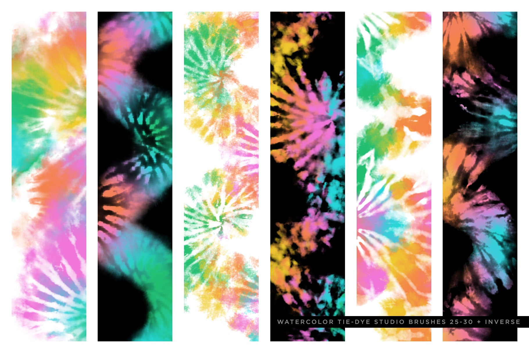 tie-dye multi-color photoshop brushes brush preview 1