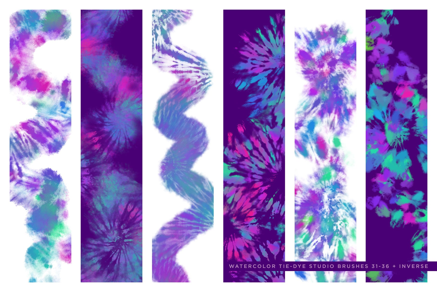 Watercolor Tie-Dye Brush Studio - Instant Digital Tie-Dye Effects - Photoshop Brushes