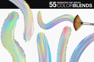 Wet Paint Photoshop Color-Blending Mixer Brushes, 55 iridescent and holographic color blends