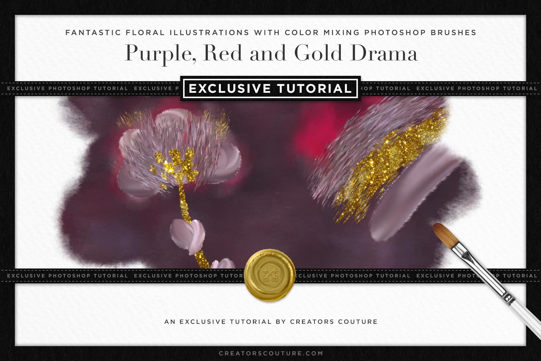 Fantastic Floral Illustrations with Color Mixing Photoshop Brushes | Purple, Red and Gold Drama - Creators Couture