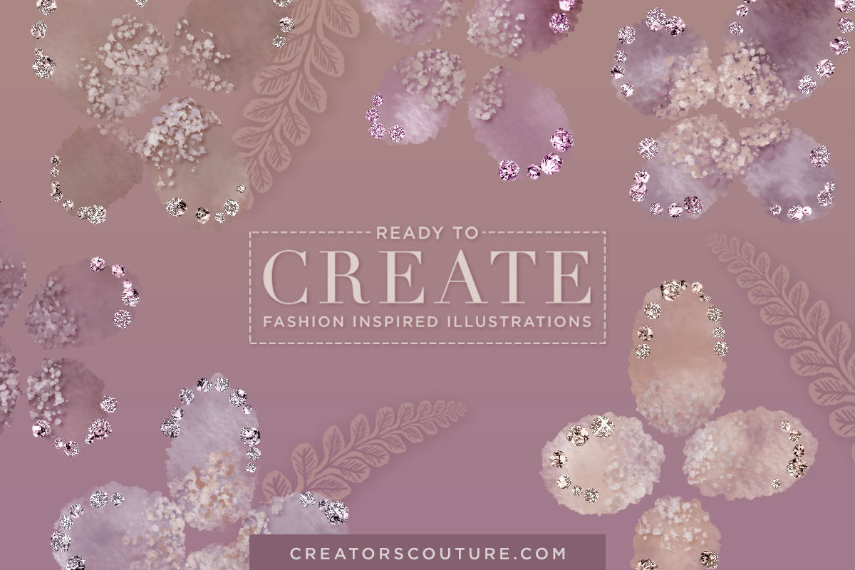 Delicate Floral & Fern Fantasies: Digital Clipart / Stock Illustration - Creators Couture