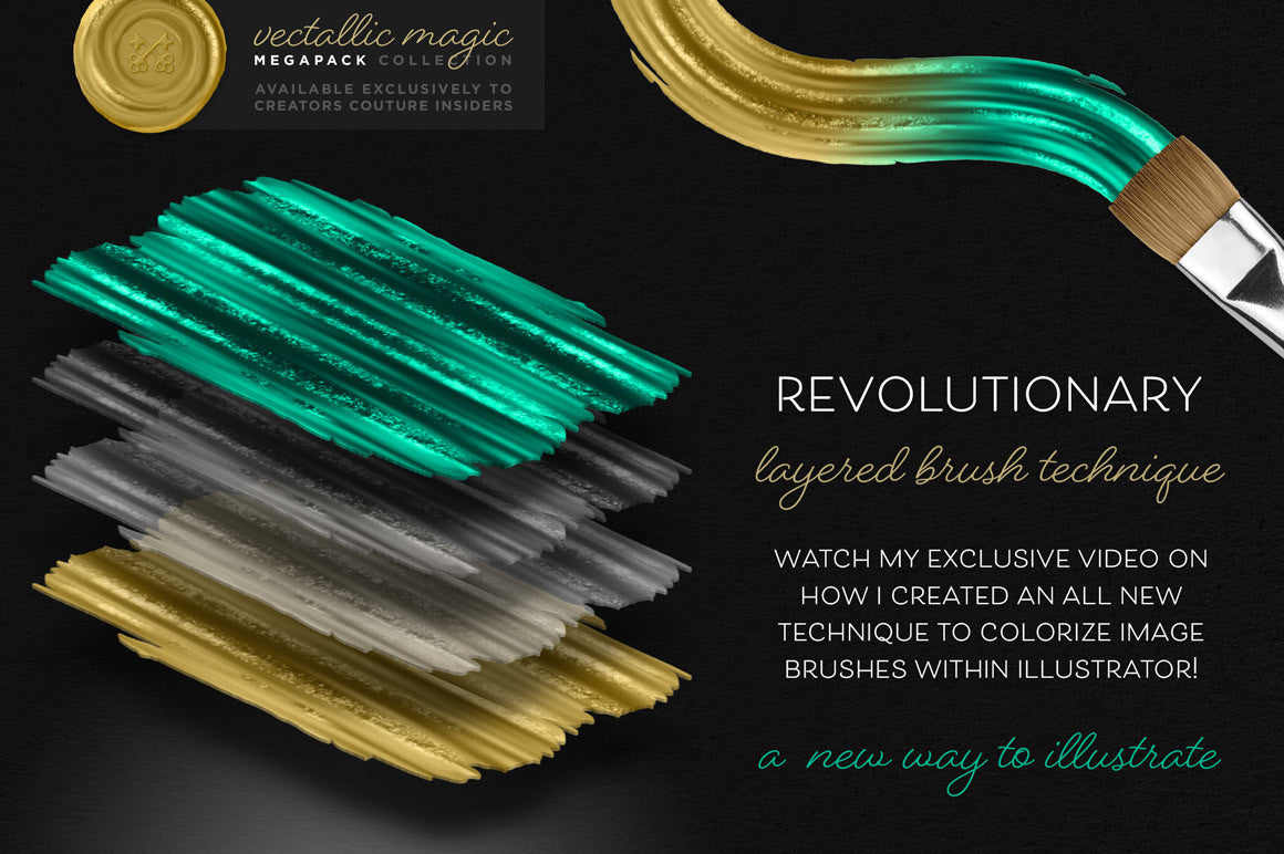 Vectallic Magic Illustrator Brush Revolution: The Megapack - Creators Couture