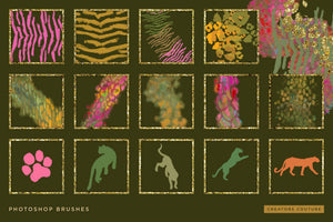 Exotic Leopard & Animal Print Color-Blending & Stamp Photoshop Brushes, brush previews