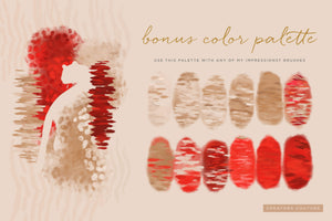 Exotic Leopard & Animal Print Color-Blending & Stamp Photoshop Brushes, bonus color palette, natural tans and red accent