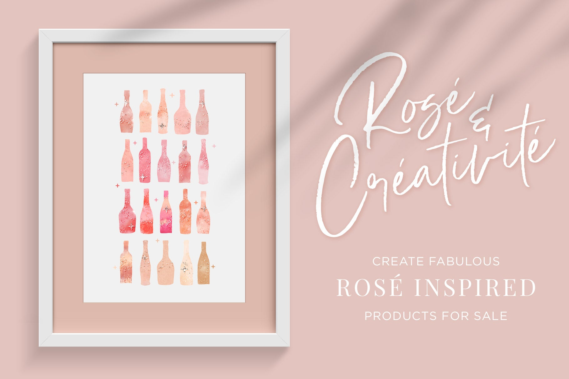 Rosé wine themed Color Palette & Color-Blending Brush Collection, sample artwork