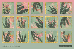 Hand-drawn Tropical Vine & Leaf Photoshop Pattern Brushes, brush previews 1