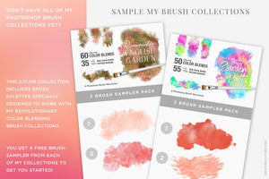 Rosé wine themed Color Palette & Color-Blending Brush Collection, impressionist brush sampler