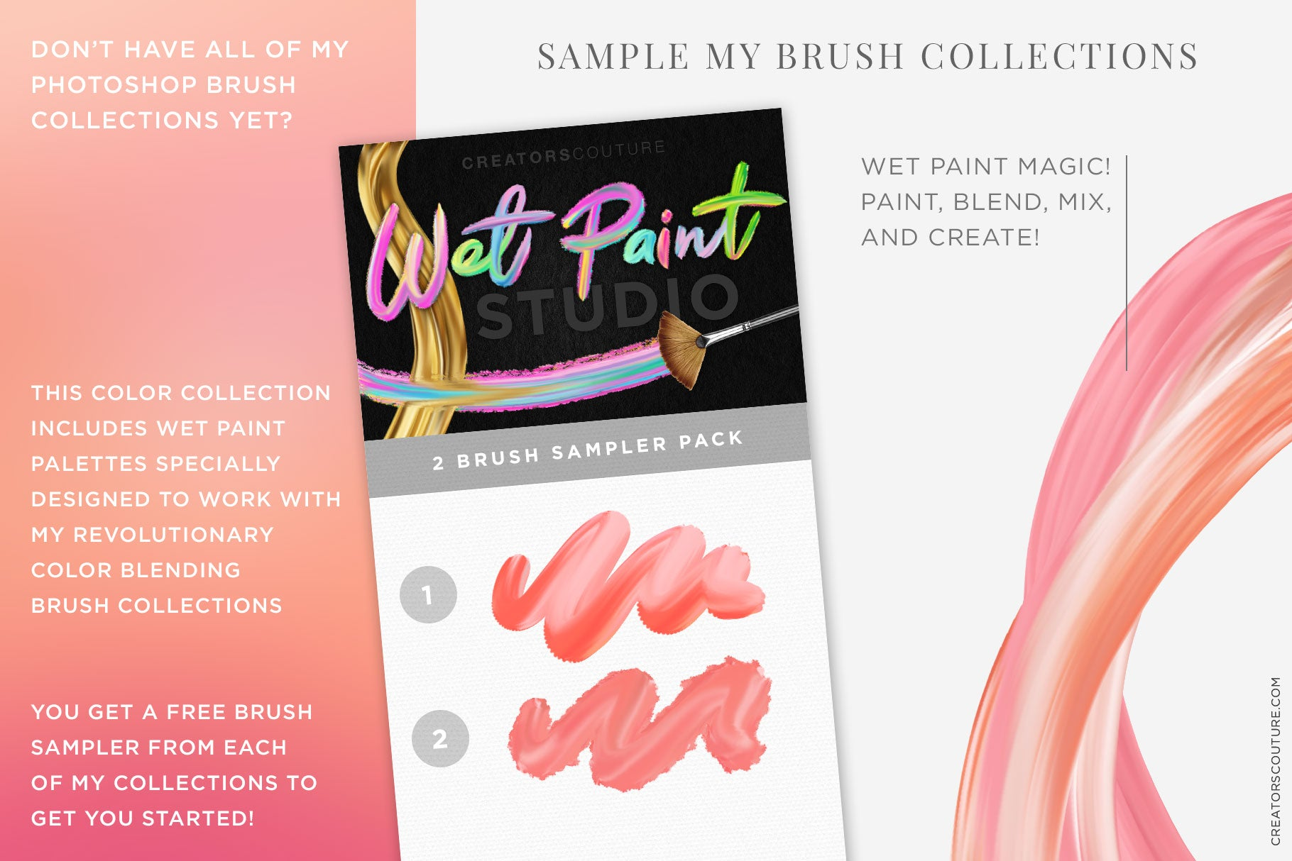 Rosé wine themed Color Palette & Color-Blending Brush Collection, wet brush sampler