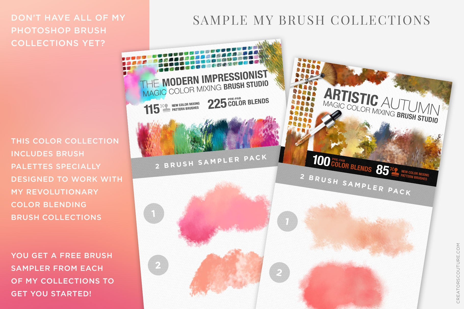 Rosé wine themed Color Palette & Color-Blending Brush Collection, brush sampler