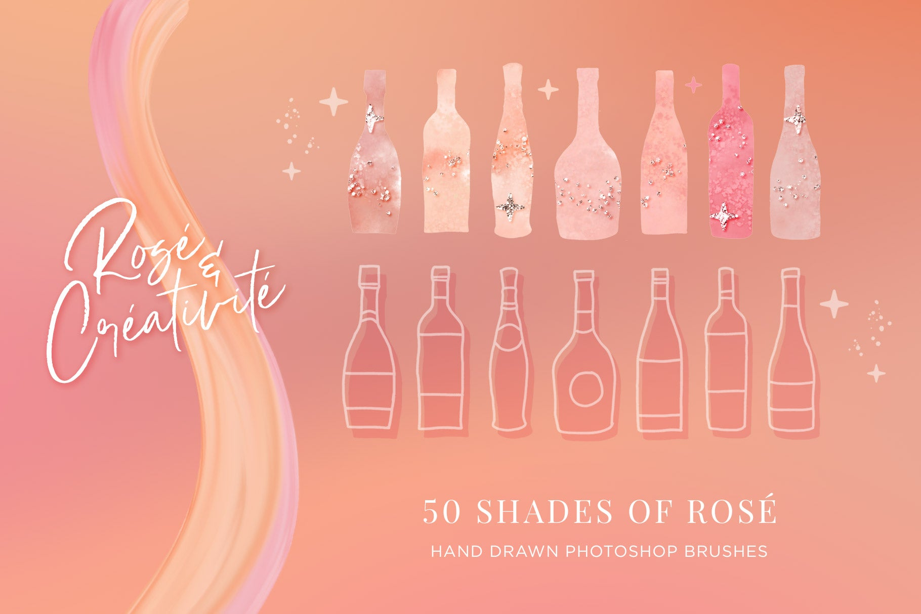 Rosé wine themed Color Palette & Color-Blending Brush Collection, wine bottle brush illustrations