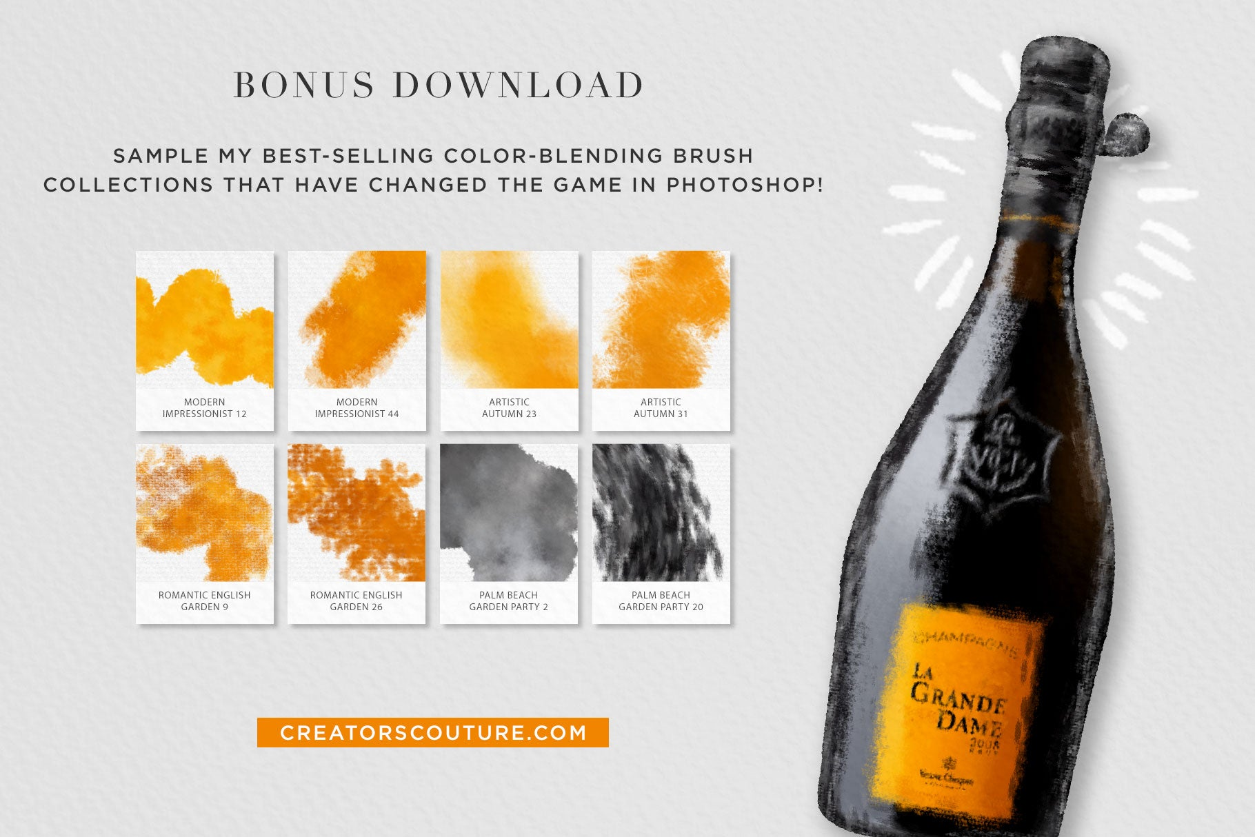 Luxe Champagne Graphic Illustration + Creative Kit - Creators Couture