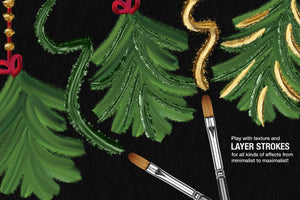 Wet Paint Photoshop Color-Blending Mixer Brushes, christmas illustration example