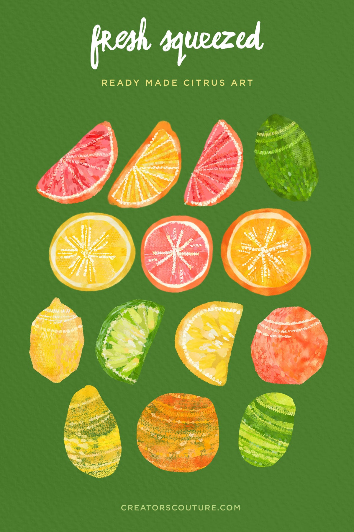 "Citrus Photoshop Brushes, Color Palettes, Clip Art | ""Fresh Squeezed"" Pattern + Illustration Kit - Creators Couture"