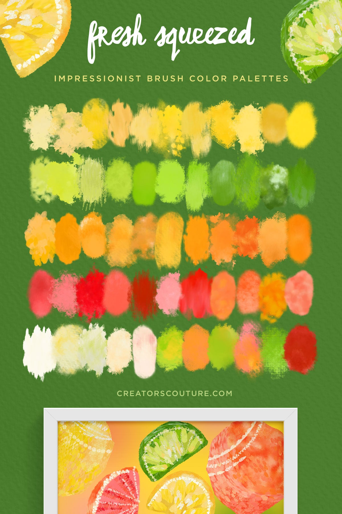 Citrus Illustration & Pattern Photoshop Brush & Color Palette Studio, lemon, lime, grapefruit, orange color palette preview