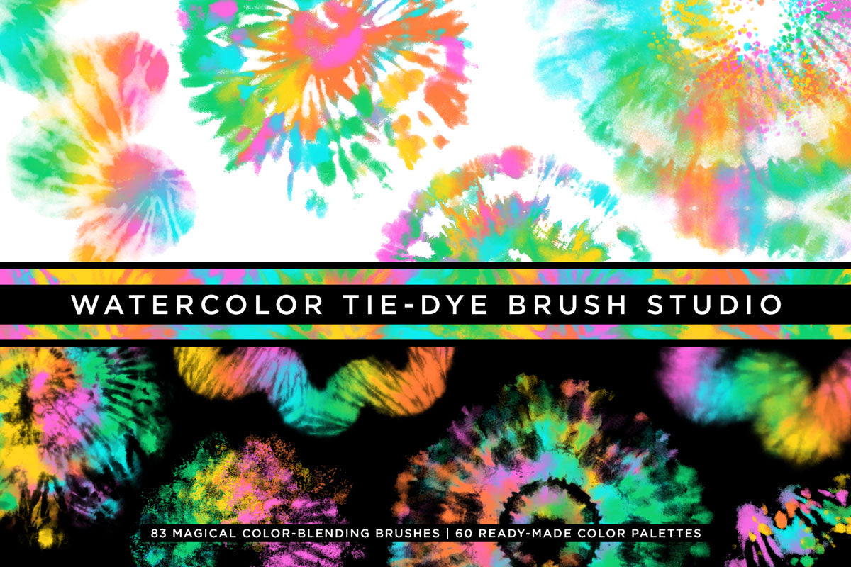 tie-dye multi-color photoshop brushes cover image
