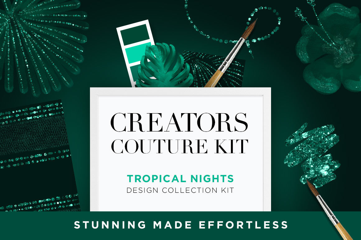 Tropical Nights Couture-Inspired Tropical Illustrations & Digital Papers, cover image