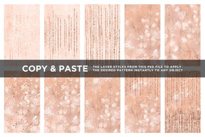 Feathery Flowers | Shimmering peach illustrations & digital papers, couture digital papers