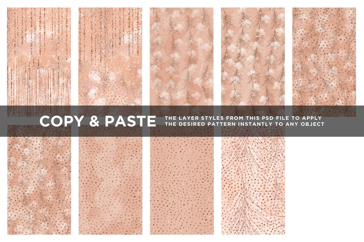 Feathery Flowers | Shimmering peach illustrations & digital papers, couture digital papers 2
