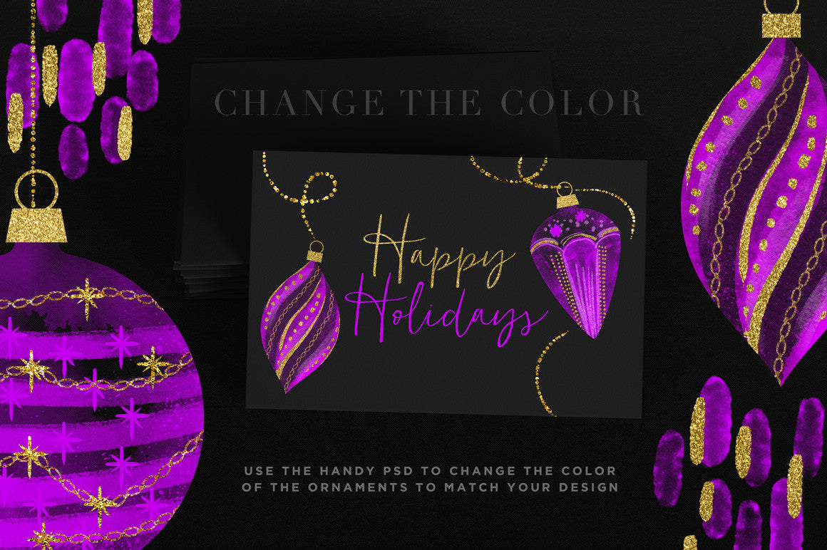 Watercolor Cheer Christmas Ornaments | Luxe Gold Accents, holiday card sample