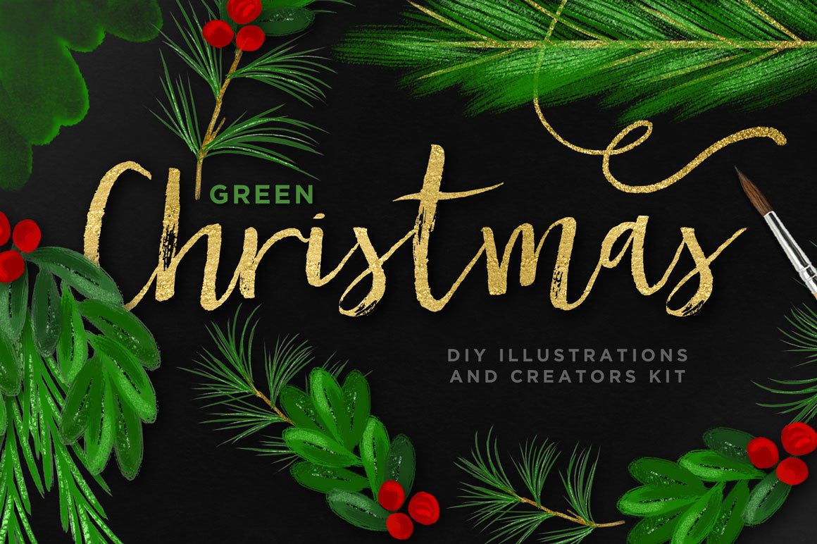 Green Christmas DIY Illustrations and Creators Kit - Creators Couture