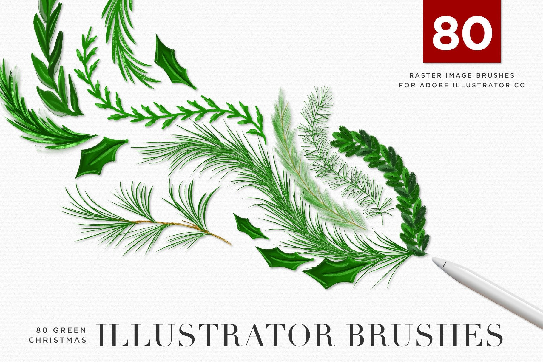 Christmas & Winter Greenery Illustrated Brushes for Adobe Illustrator cover image