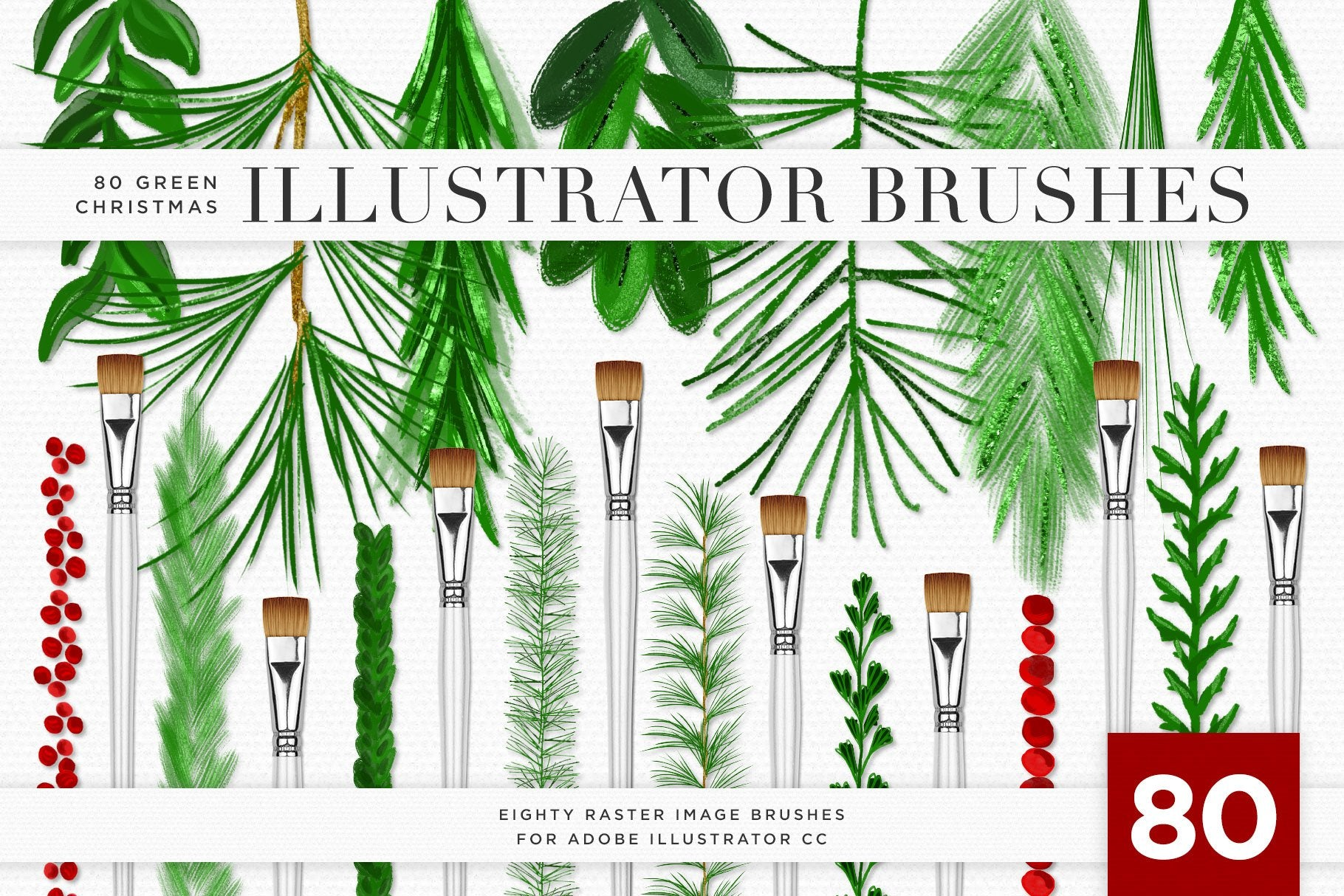 Christmas & Winter Greenery Illustrated Brushes for Adobe Illustrator preview 1