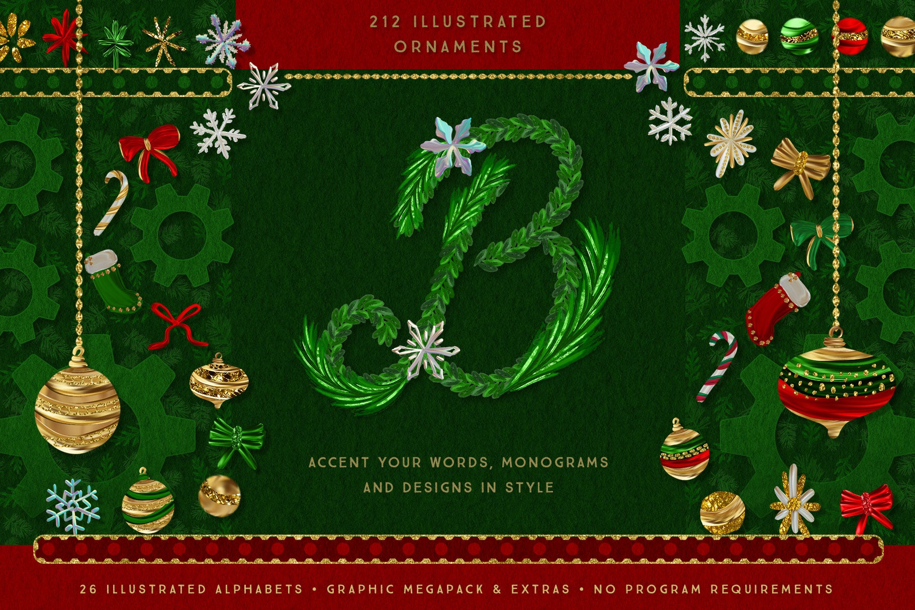 Luxe Christmas & Holiday Greenery Alphabets: illustrated monogram