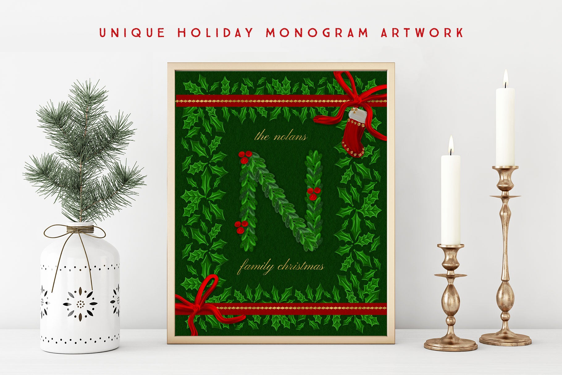 Luxe Christmas & Holiday Greenery Alphabets: create christmas monogram artwork