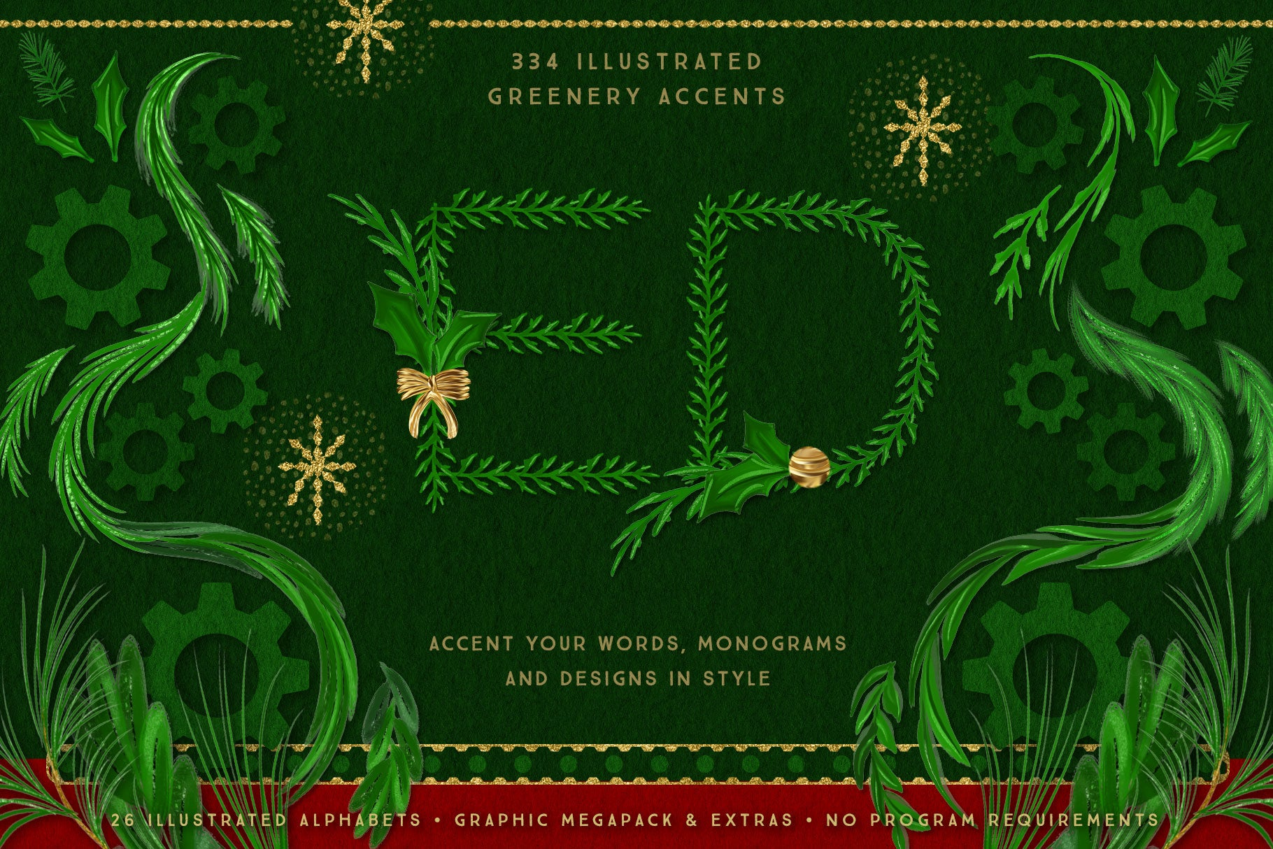 Luxe Christmas & Holiday Greenery Alphabets: greenery accents demo image