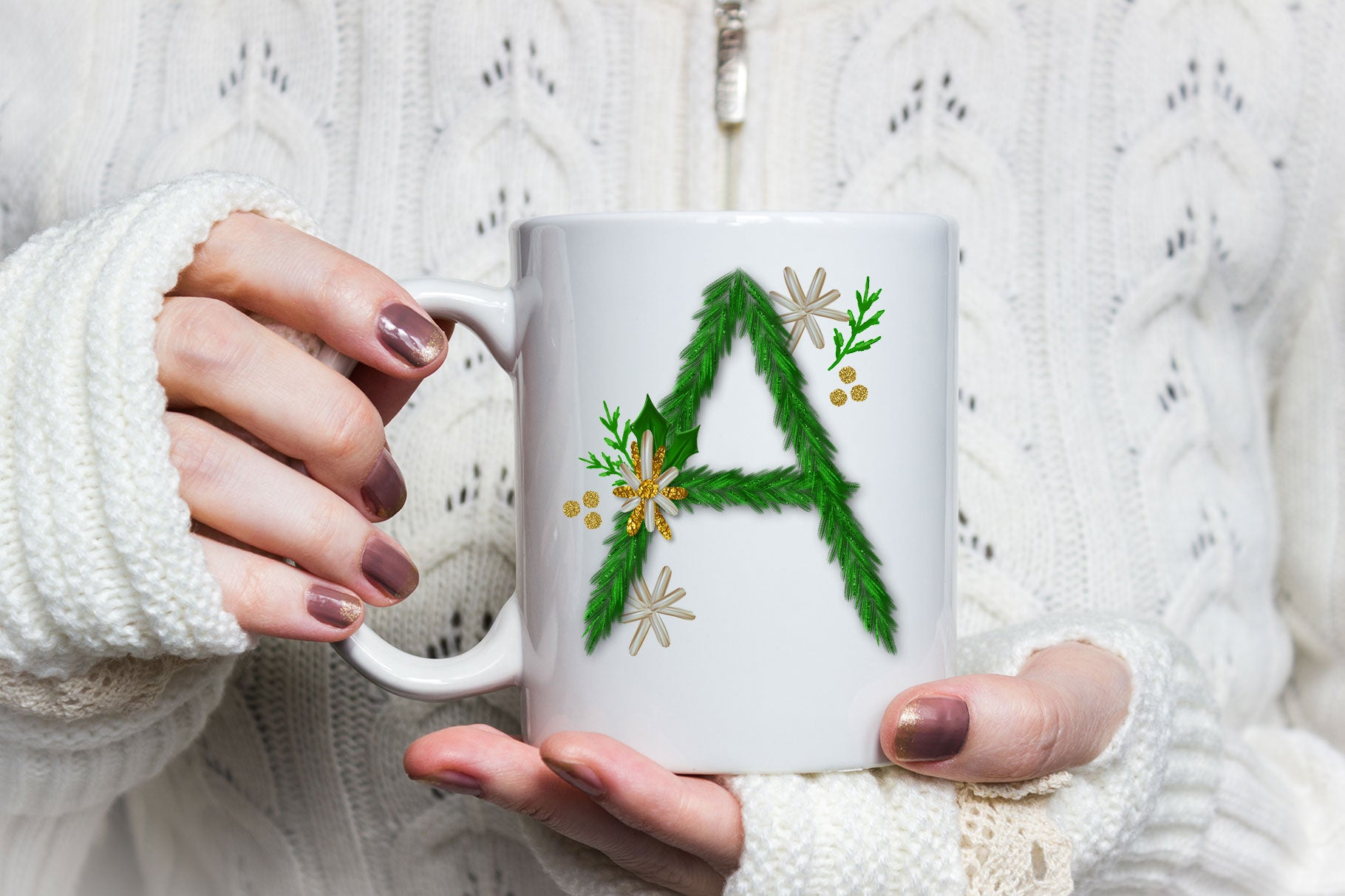 Luxe Christmas & Holiday Greenery Alphabets: create holiday mugs for sale