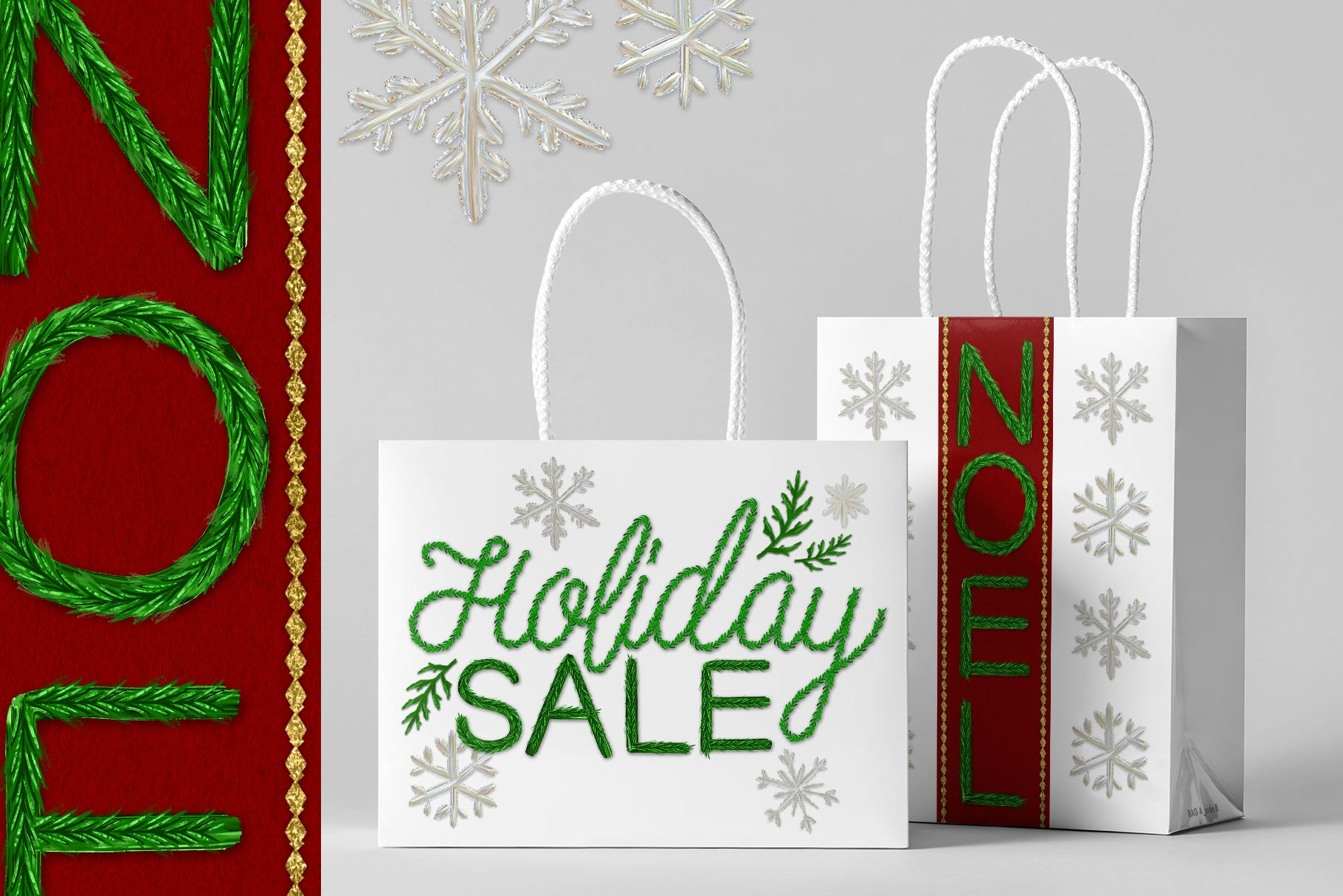 Luxe Christmas & Holiday Greenery Alphabets: holiday packaging design