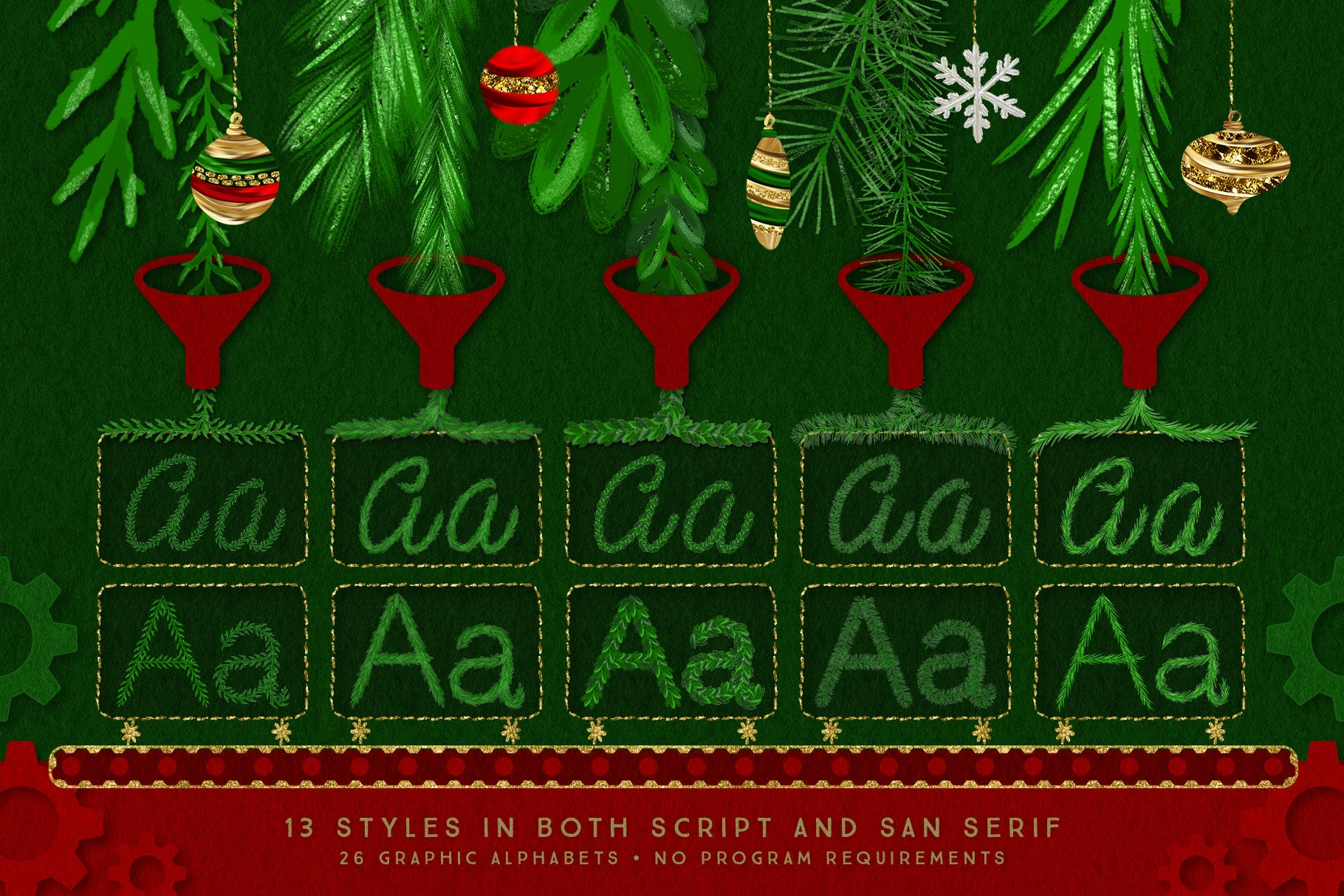 Luxe Christmas & Holiday Greenery Alphabets: letter styles