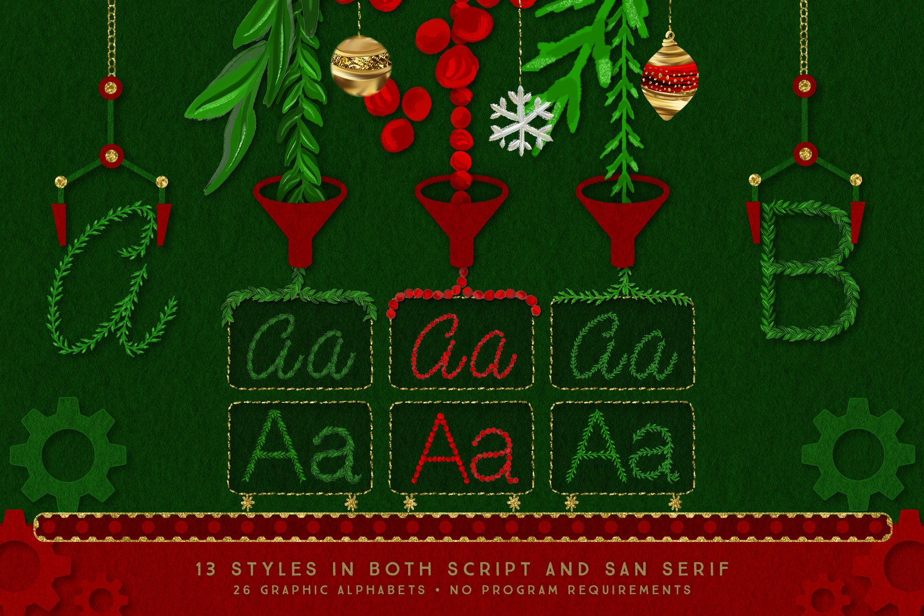 Luxe Christmas & Holiday Greenery Alphabets: script and san serif