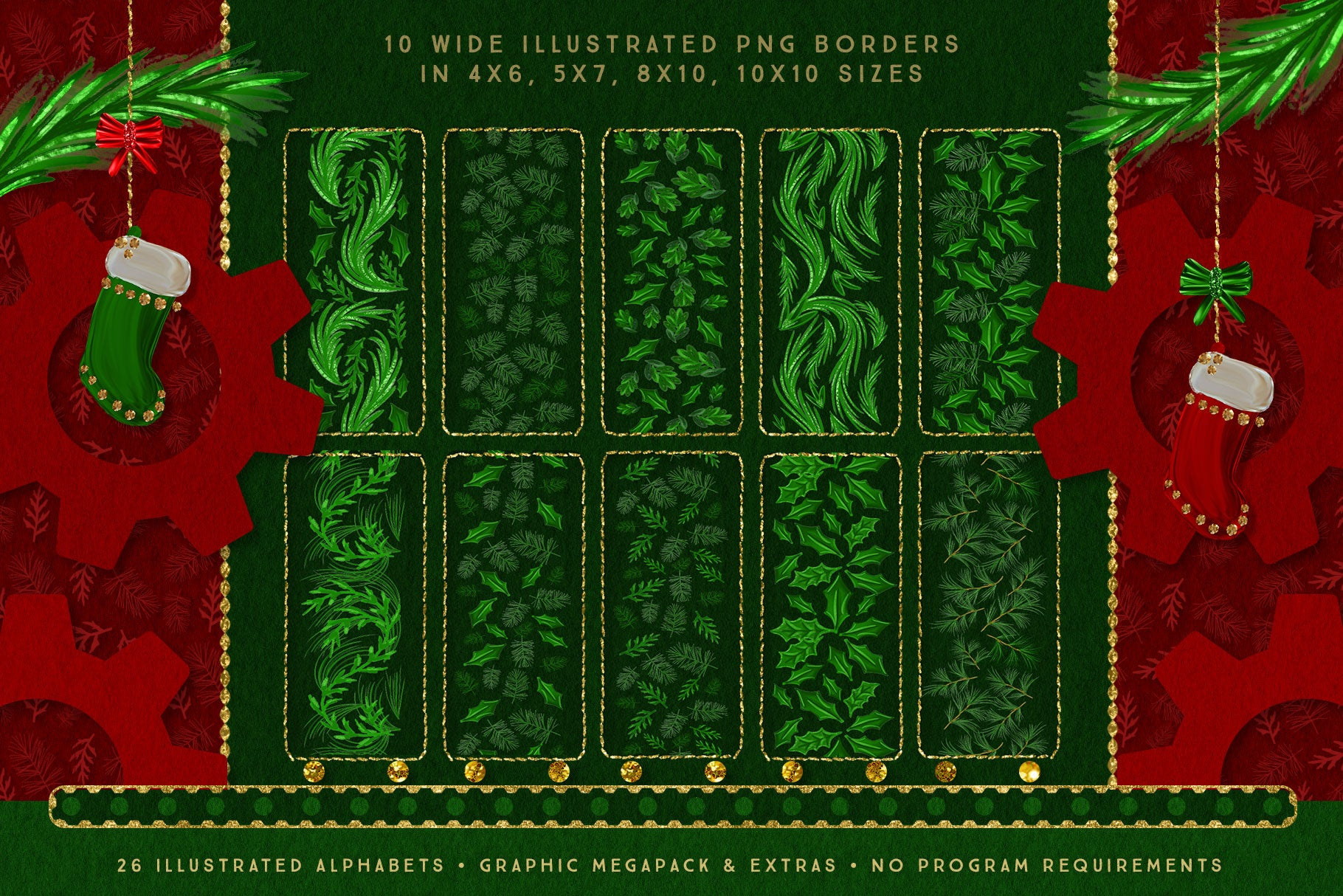 Luxe Christmas & Holiday Greenery Alphabets: PNG graphic greenery borders