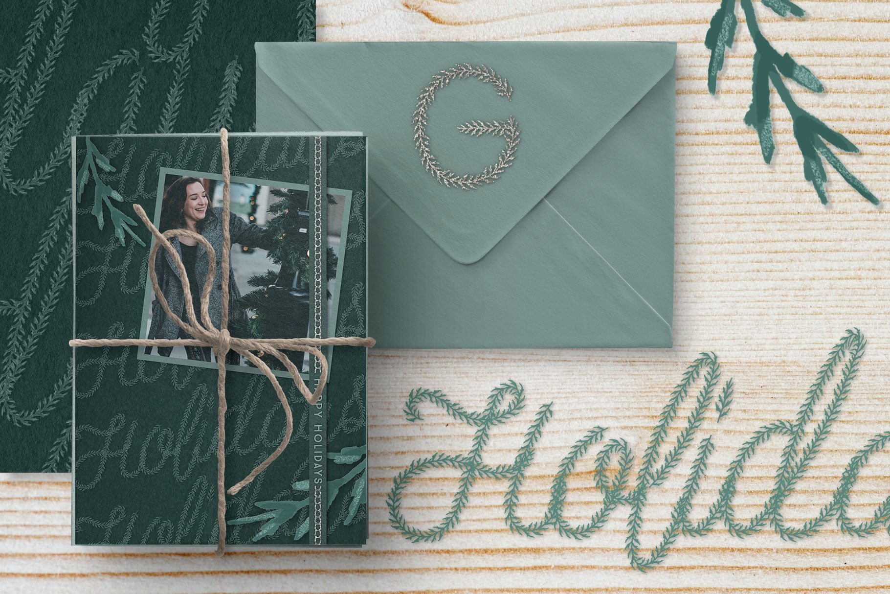 Luxe Christmas & Holiday Greenery Alphabets: holiday card designs with silver accents