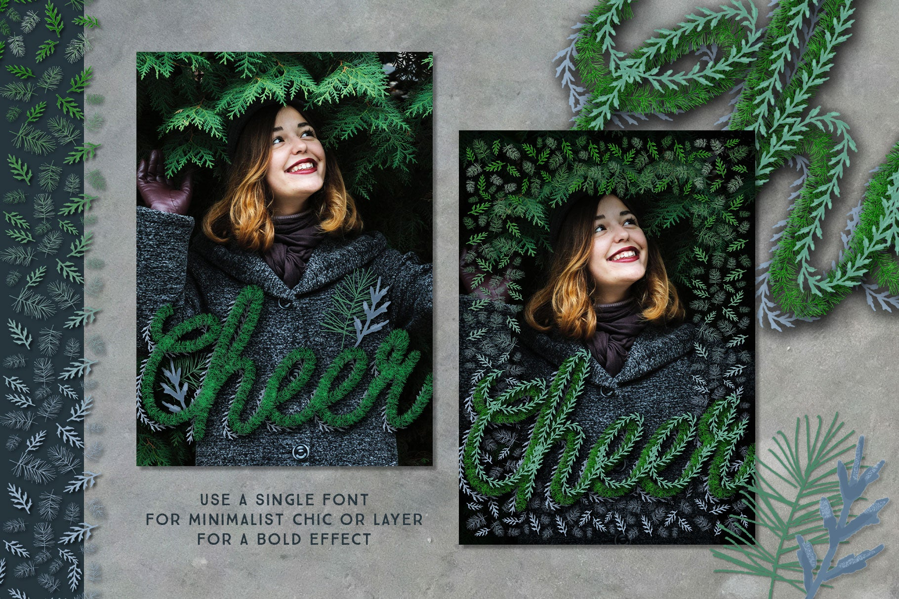 Luxe Christmas & Holiday Greenery Alphabets: holiday cheer greeting card design