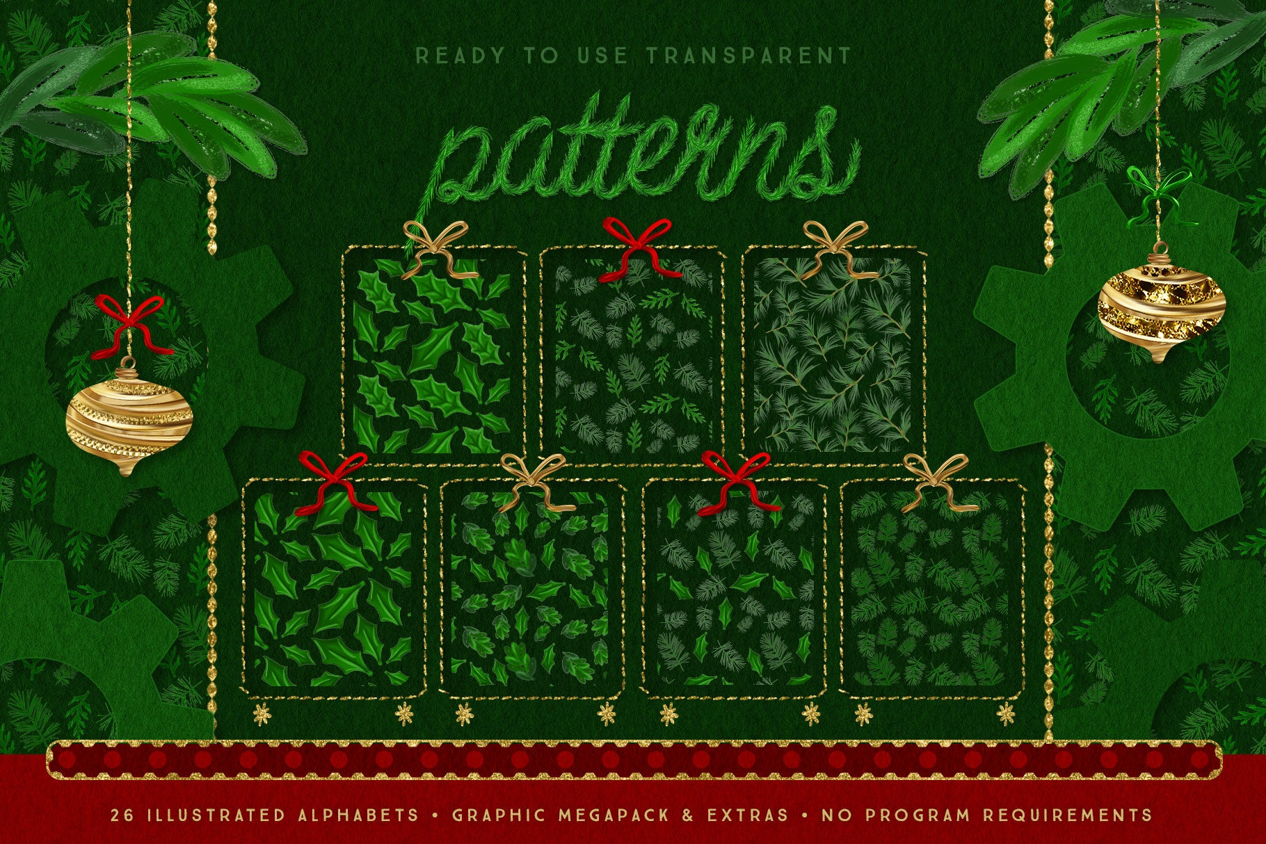 Luxe Christmas & Holiday Greenery Alphabets: mistletoe patterns