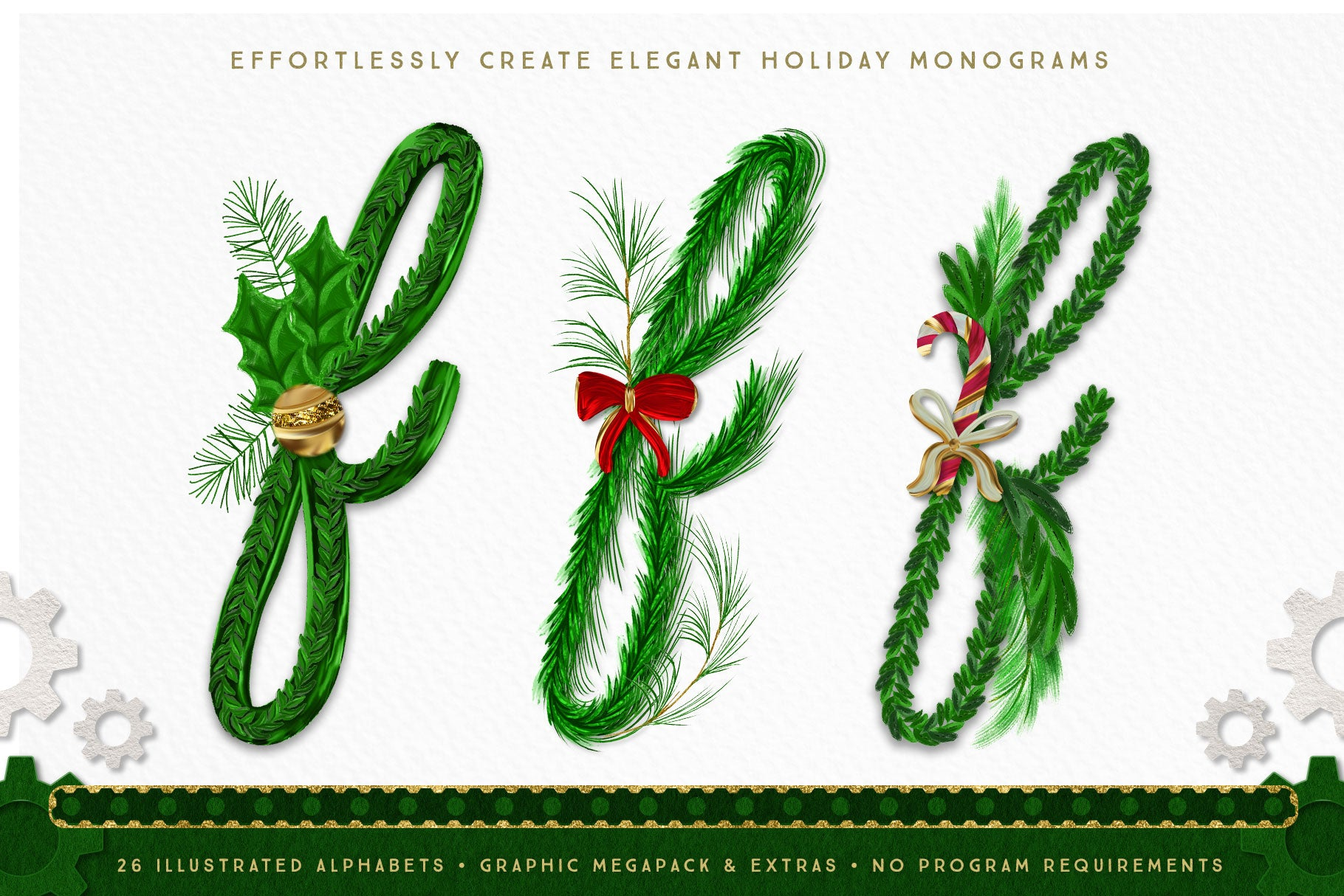 Luxe Christmas & Holiday Greenery Alphabets: holiday monogram design options