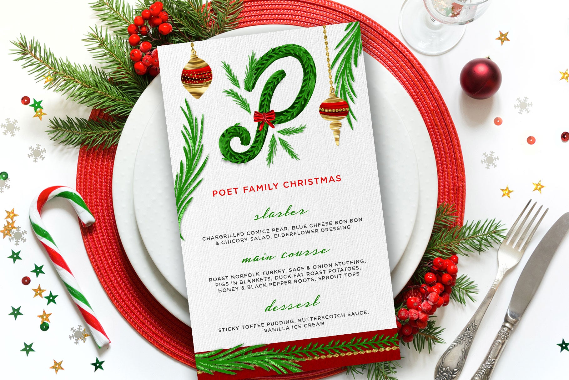 Luxe Christmas & Holiday Greenery Alphabets: christmas menu design