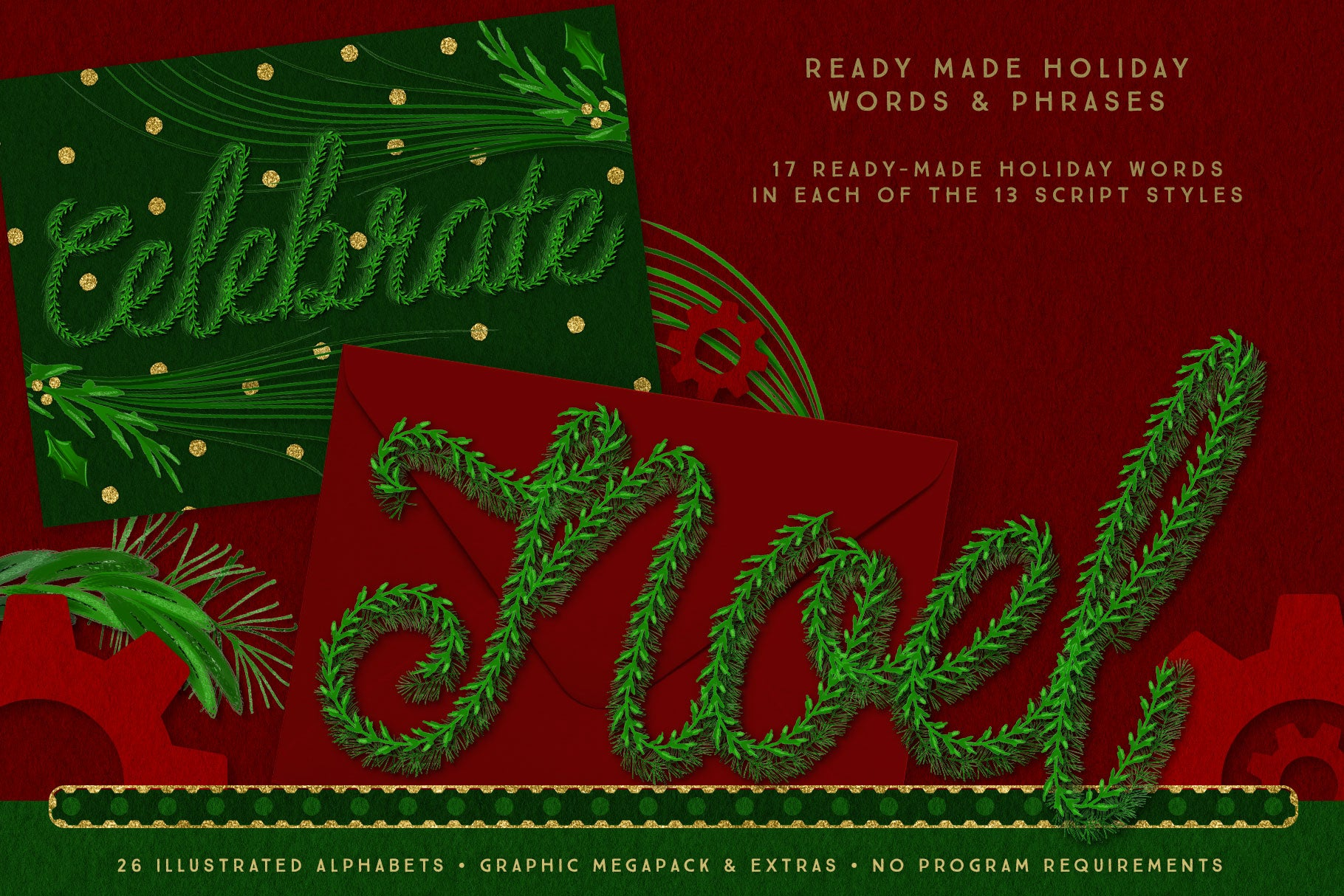 Luxe Christmas & Holiday Greenery Alphabets: ready made holiday phrases