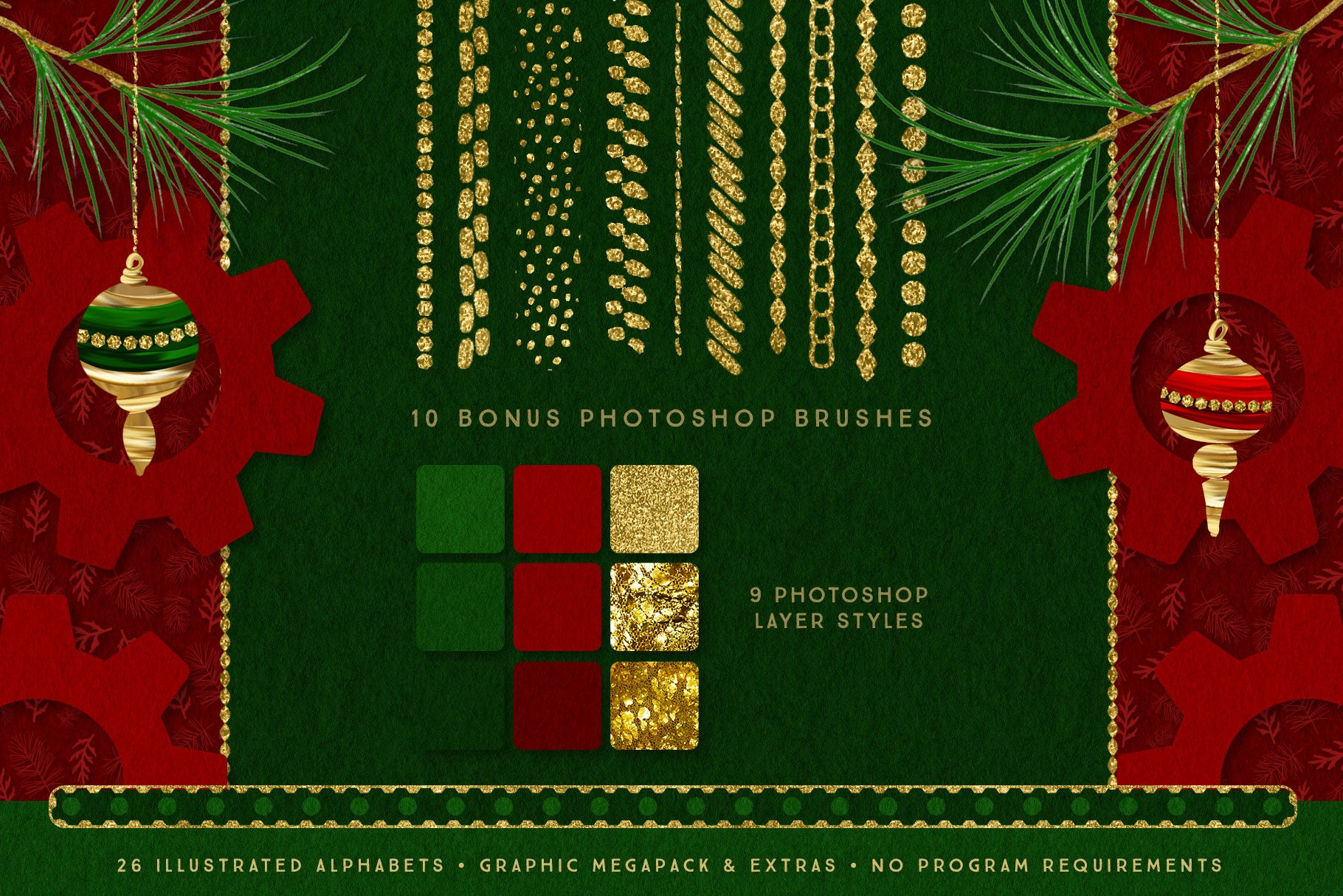 Luxe Christmas & Holiday Greenery Alphabets: photoshop layer styles