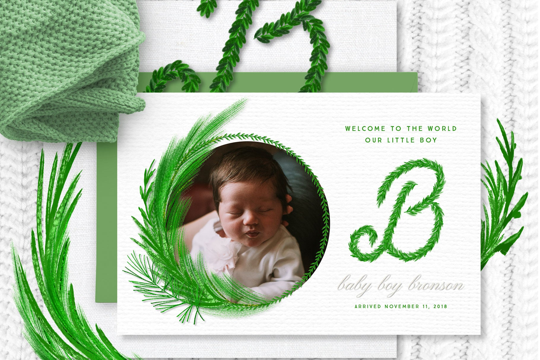 Luxe Christmas & Holiday Greenery Alphabets: baby announcement