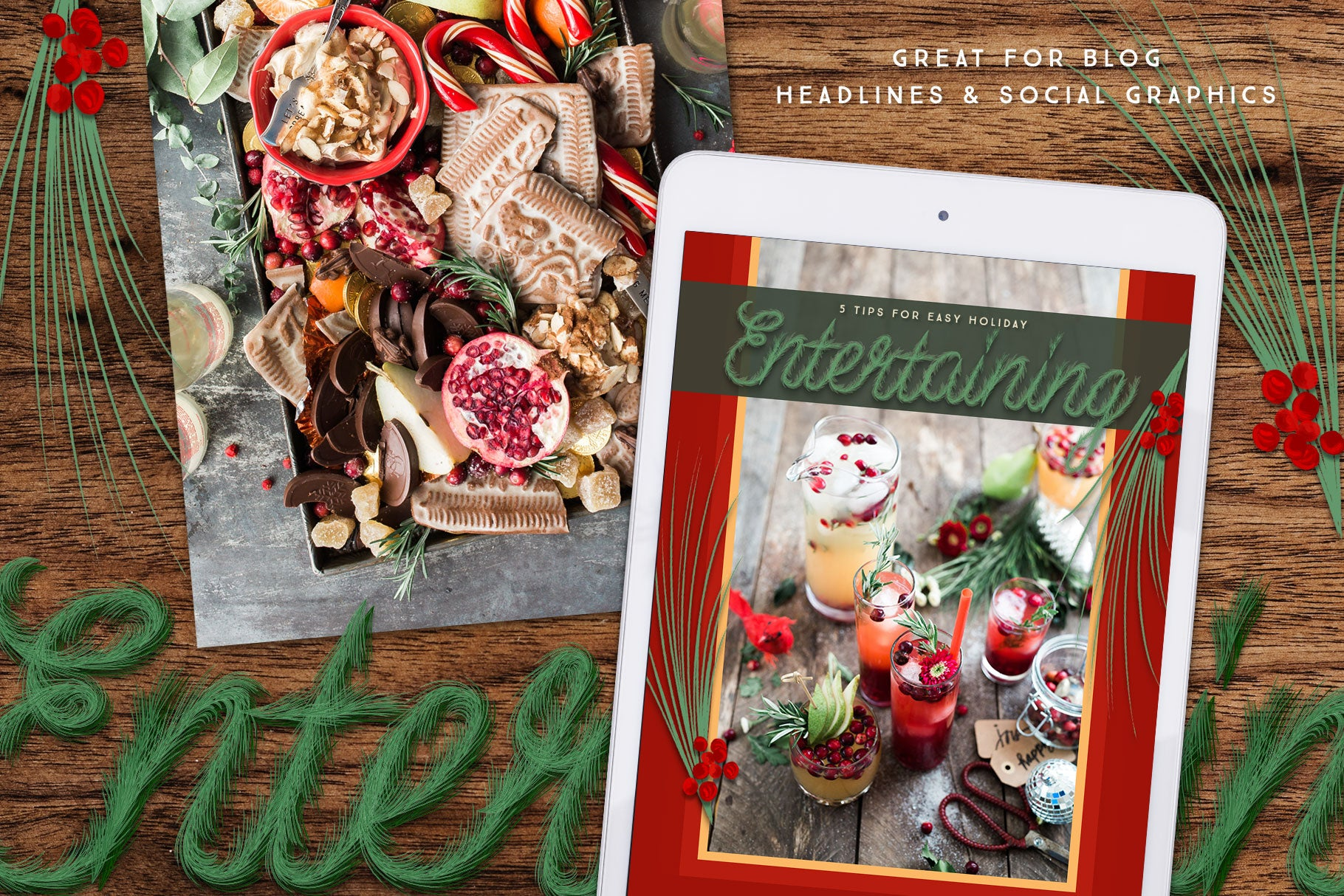 Luxe Christmas & Holiday Greenery Alphabets: use for headlines and social graphics