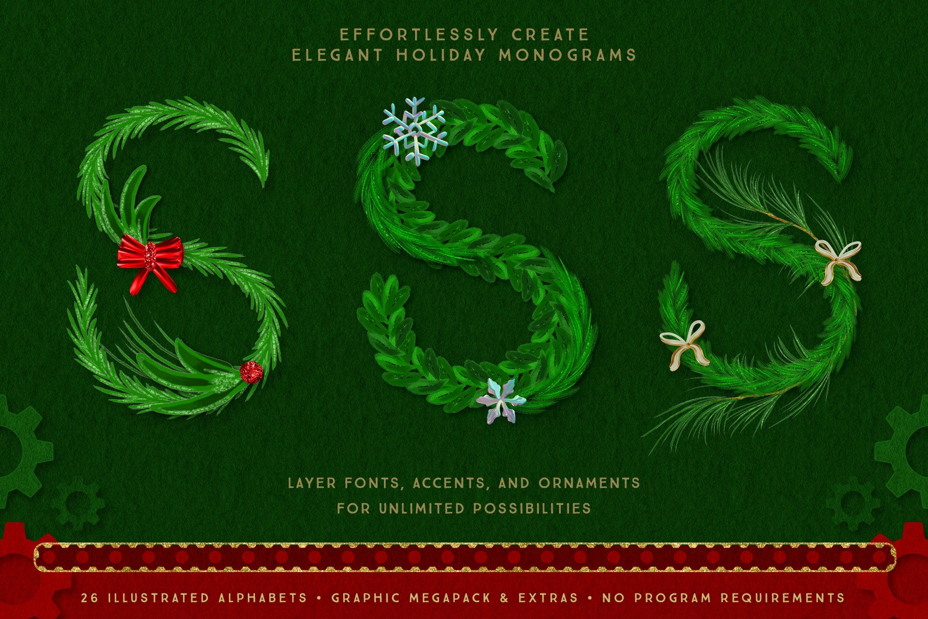 Luxe Christmas & Holiday Greenery Alphabets: monogram options