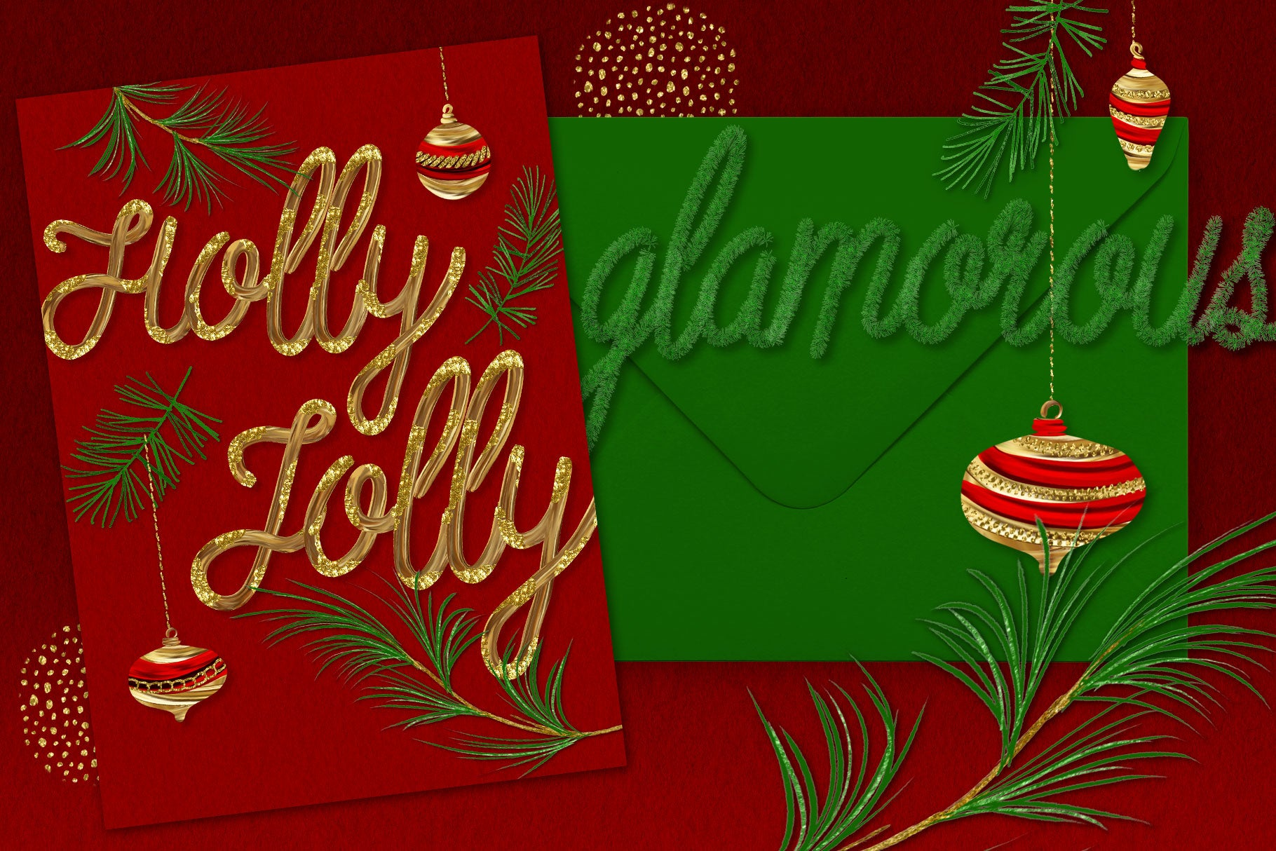 Luxe Christmas & Holiday Greenery Alphabets: holiday card design