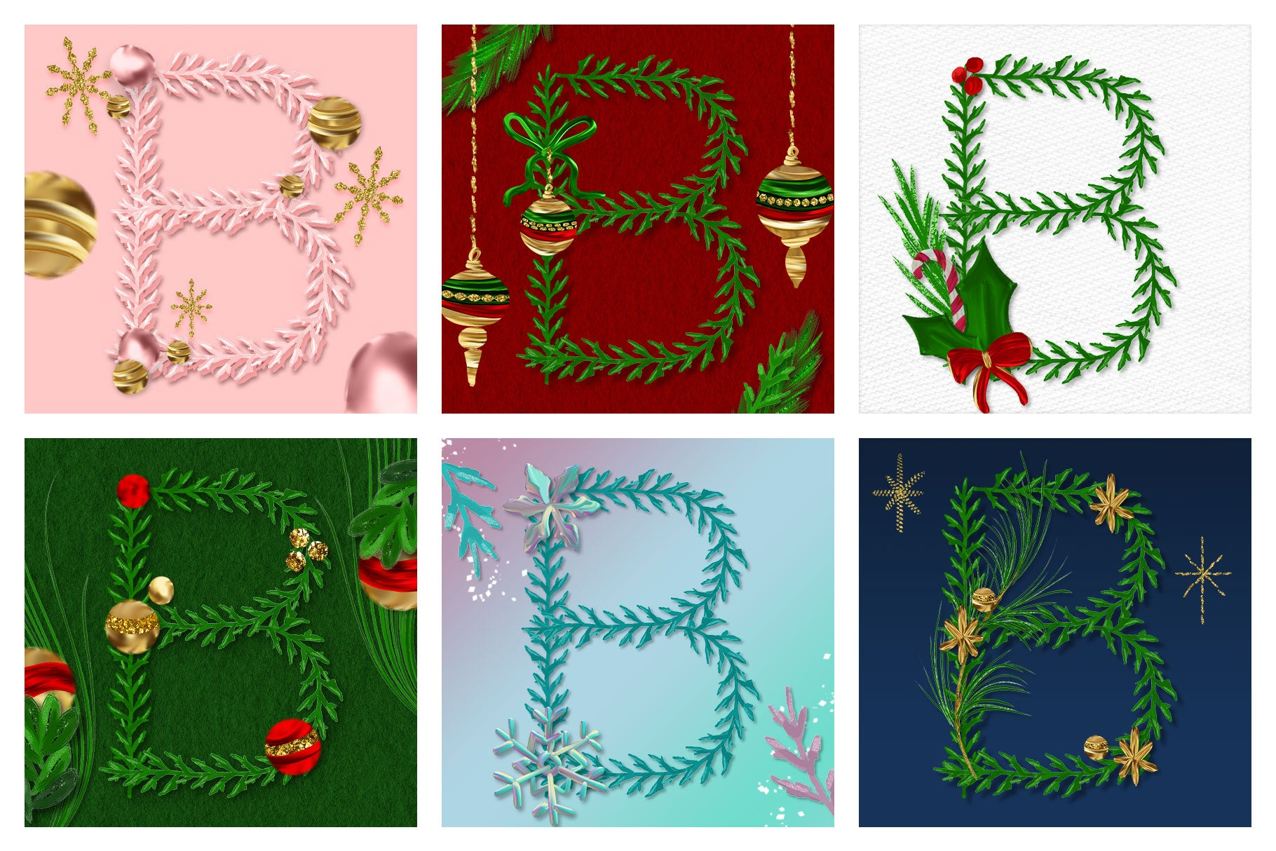 Luxe Christmas & Holiday Greenery Alphabets: varations of letter B christmas monogram