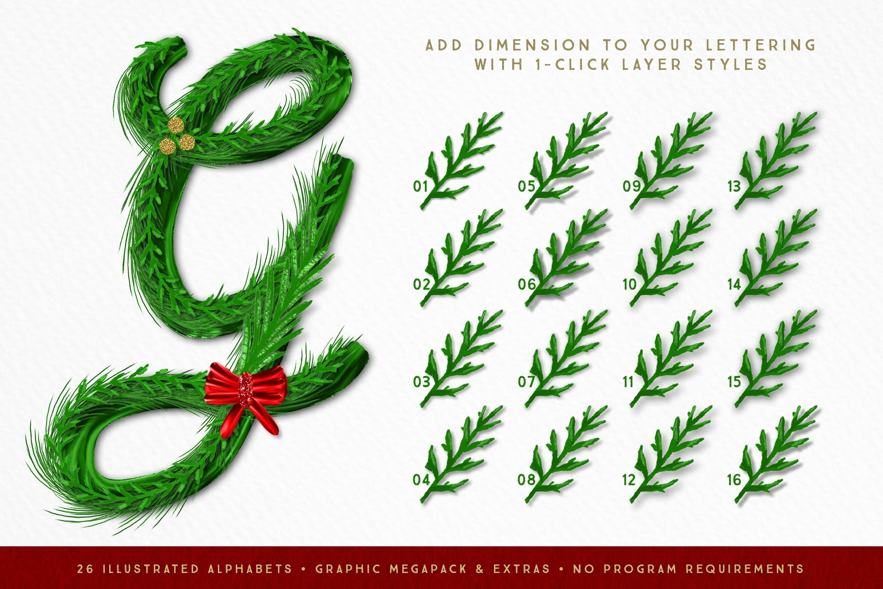 Luxe Christmas & Holiday Greenery Alphabets: layering lettering drop shadow styles